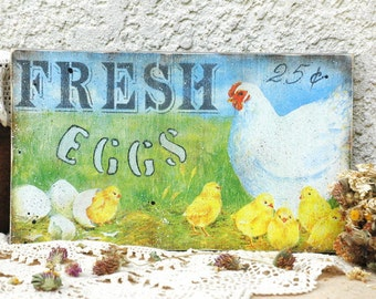 Fresh eggs rustic distressed farmhouse wood sign  Kitchen Signs  Rooster Kitchen Decor Country primitive decor