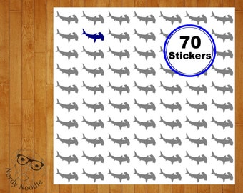 Hammerhead Shark Planner Stickers, 70, Hammerhead Shark Stickers, Hammerhead Shark Sticker Set, Hammerhead Shark Envelope Seals, Hammerhead