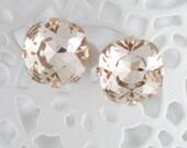 Champagne crystal earrings,rose gold earrings,square earrings,Swarovski,Swarovski light silk,12mm earrings,bridesmaid earrings,rose gold
