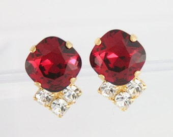 Ruby red earrings,Ruby earrings,Square earring,Ruby crystal earrings,rare swarovski ruby,12mm square,Red crystal jewelry,Red wedding