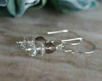 Green amethyst earrings, smokey topaz drop earrings, dangle earrings, sterling silver French hook ear wires, gift for her, jewelry gift