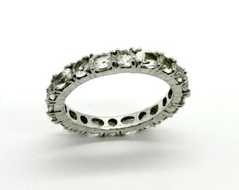 Vintage Sterling Silver CZ Eternity Band, Wedding Ring, Anniversary Ring, Size 8