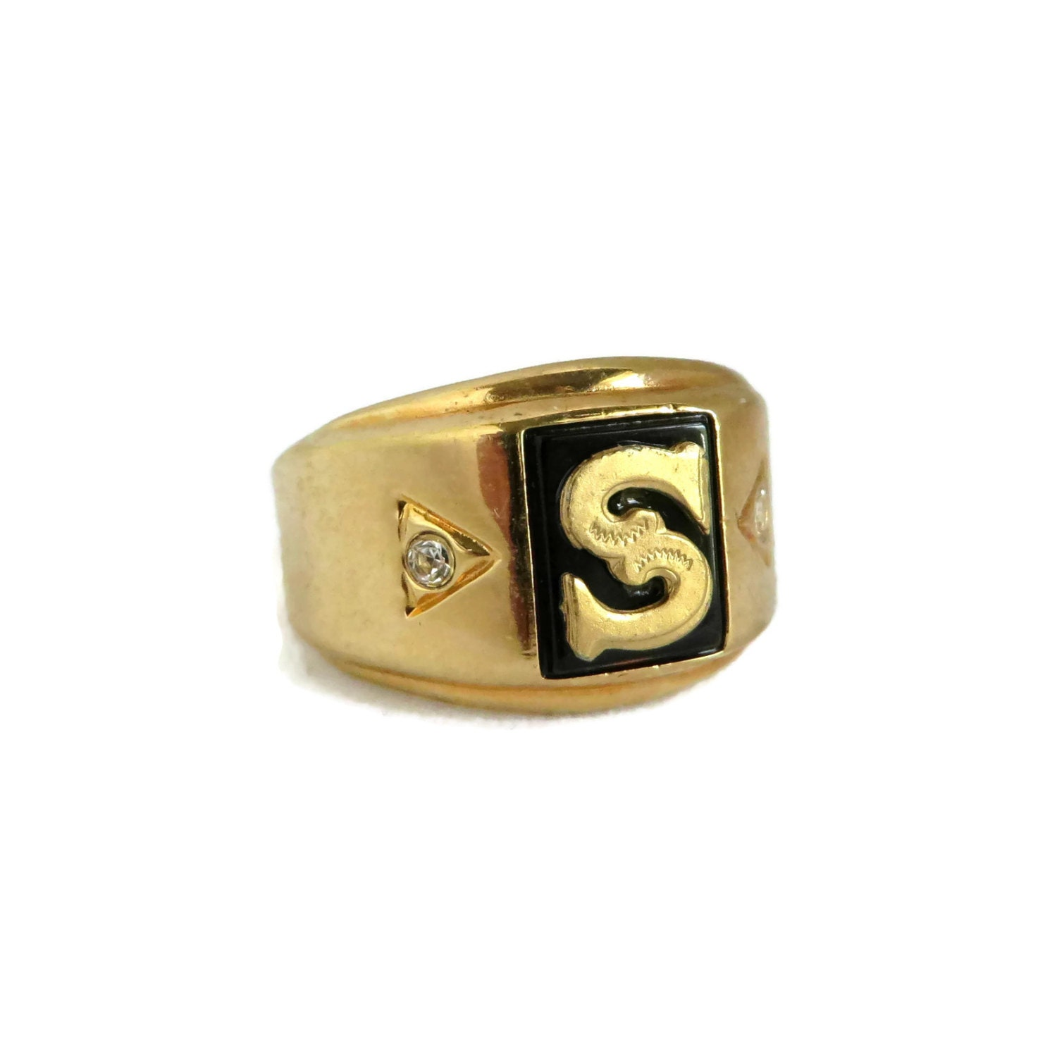 s seta gold plated initial s ring vintage faux onyx