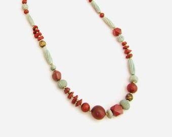 28 Inch Asymmetrical Necklace in Dusty Cedar and Airy Blue