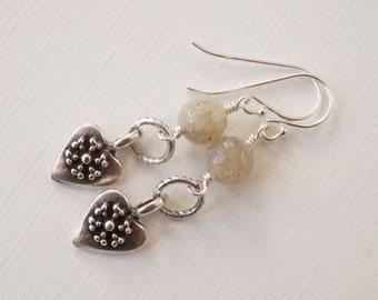 Labradorite earrings, heart charm earrings, Mykonos heart charms, gemstone earrings with Trinity Brass, light grey labradorite earrings