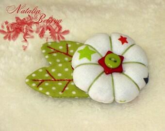 Textile brooch. Fabric brooch. Cloth brooch. Christmas  Flower brooch.