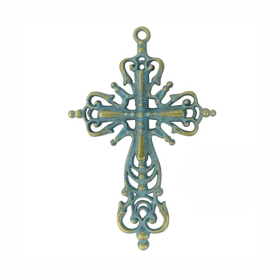 2 Ornate Filigree Gold Cross Pendant Necklace With Patina