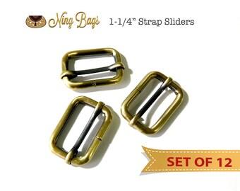 """1-1/4"""" Strap Adjusters, Strap Adjustable Sliders in Antique Brass (12 Pcs.)"""