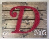 Monogrammed String Art, Letter String Art Pallet Style Wall Hanging With Your Choice of Stain & String Color