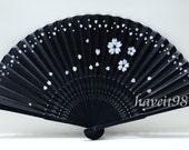 Japanese hand Fan - Black based with falling sakura, black-colored bamboo, Kimono Sensu, hand fan,  folding fan, wedding fan