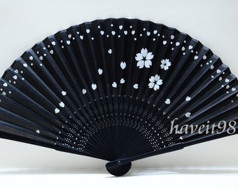 Japanese hand Fan - Black based with falling sakura, black-colored bamboo, Kimono Sensu, hand fan,  folding fan, wedding fan
