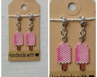 Set of two cute little popsicle stitchmarkers/charms handmade choose from pink or purple