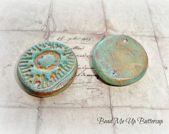 Patina & Caramel Rustic Aztec Medallion Polymer Clay Coin Connector