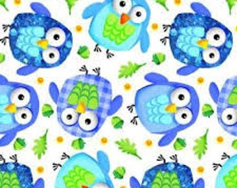 Blue Owls in White (Flannel Fabric)