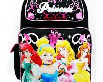 New Disney 4 Princess Pink or Black Backpack Cinderella Aurora Bella & Ariel