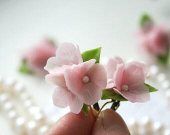 Hydrangea Flower earrings Pink jewelry Floral earrings Flower jewelry Floral jewelry Botanical jewelry Romantic jewelry, Clay jewelry