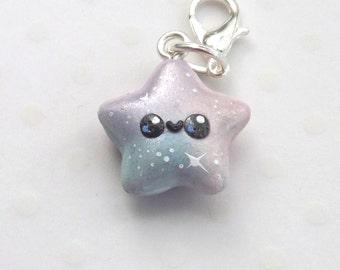 Kawaii Star Charm - Pastel Galaxy Pendant - Polymer Clay Charm - Planner Charm - Journal Accessory - Stitch Marker - Clay Star Charm