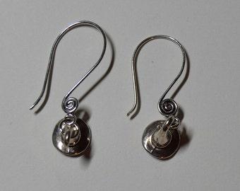 Silver Witch Hat Swirl Ear Wire Earrrings