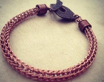 Antique copper viking knit bracelet with Art Deco toggle clasp. 17.5cm.