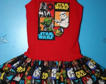 Girls Star Wars, Darth Vader, Stormtrooper, Yoda dress, Star Wars dress, size 7/8 READY To SHIP! (27 inches long)