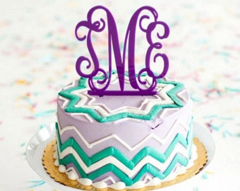 Graduate or Wedding 3 Letter Monogram Cake Topper