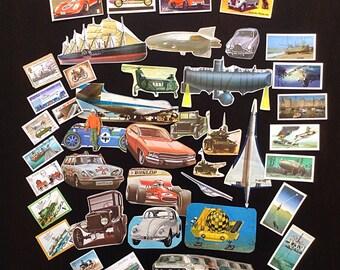Planes, trains & automobiles! Unique vehicle themed ephemera pack