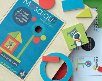 Mosaic, with magnet, educational game, wood, made in Quebec, gift for children, Mabie Ecodesign