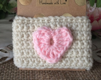 SAVE 25% OFF! Coffee Cozy | cream with light pink heart