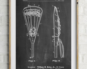 Lacrosse Stick 1936 Patent Poster, Lax, Lacrosse Art, Lacrosse Gifts, PP0915