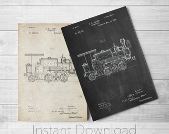 Steam Locomotive Printables, Gilded Age, Steam Train, Boys Room Decor, Train Room Decor, Train Wall Art, PP0122