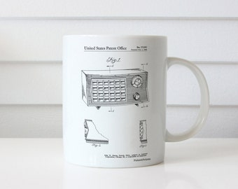 Vintage Table Radio Patent Mug, Transistor Radio, Music Lover Gift, Vintage Mug, Living Room Mug, Music Room Decor, PP1126