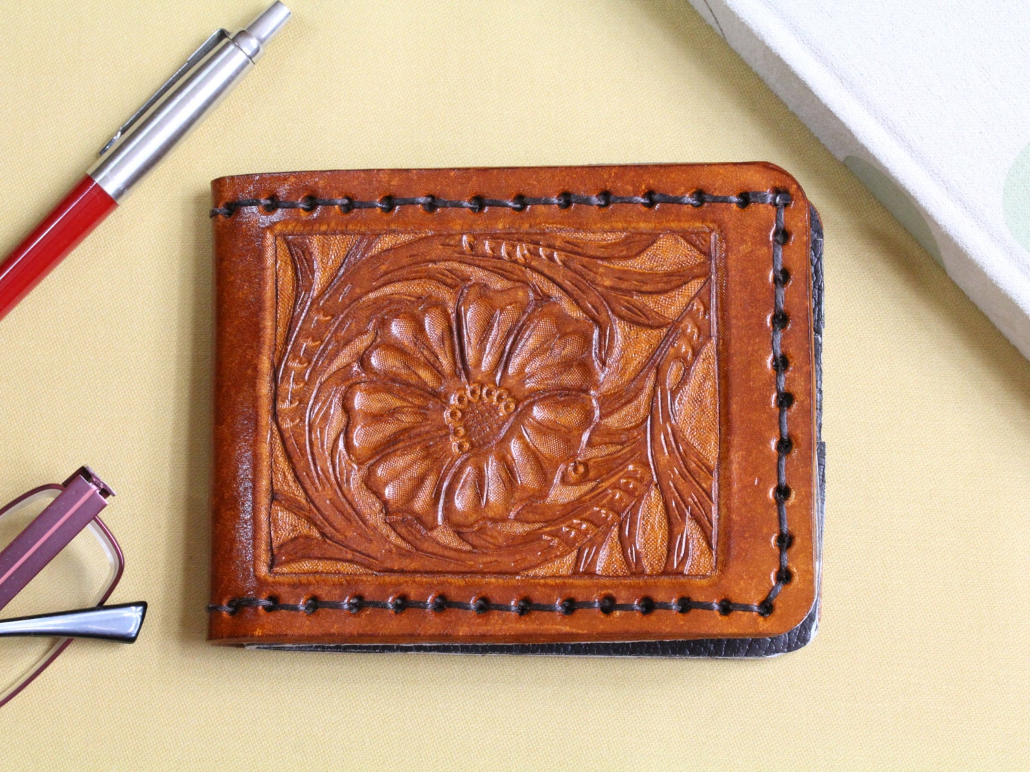 Sheridan style carved leather wallet mens by