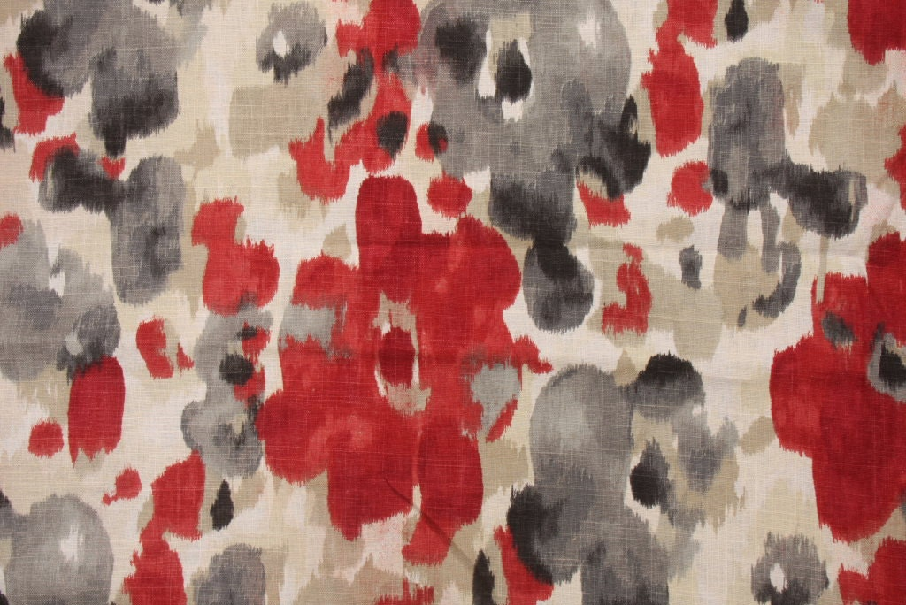 Dark Red Floral Linen Upholstery Fabric - Grey Red Floral ...