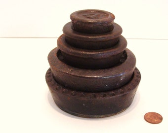 Antique Cast Iron Scale Weights Not Matched Set of 5
