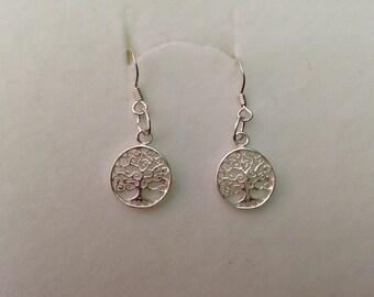 Tree of life earrings, tree of life dangles, silver trees of life earrings, trees of life, delicate trees of life earrings