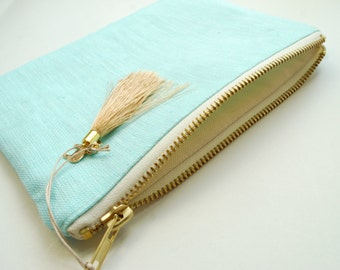 Aqua Gold Linen Pouch- Bridesmaid clutch -Beach Wedding - Linen Zipper Pouch with Tassel- Organizer -Cosmetic Pouch