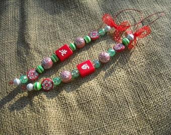 Mahjong Ornaments - Mahjong Decorations - Mahjong Gifts - Mahjong Holiday Gifts - Red Mahjong