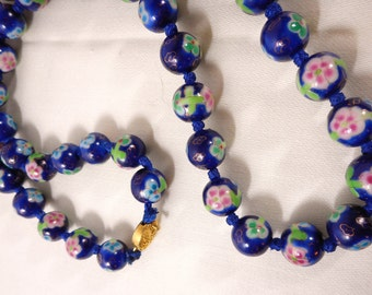 Cobalt & Pink 12mm Ceramic Tensha Bead Necklace, 24 Inch Silk Knotted Cord, Japanese Tensha Bead Necklace