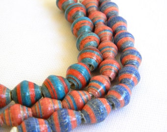 Paper Bead Jewelry Supplies - Paper Beads - Hand painted - Lot of 30 - #230B