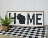 Home State Sign Wood State Sign Rustic Home Sign Home Decor Home Wood Sign