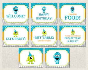 Printable Birthday Party Signs Welcome Monster Orange 1st 2nd 3rd Blue Green Boys IV-5