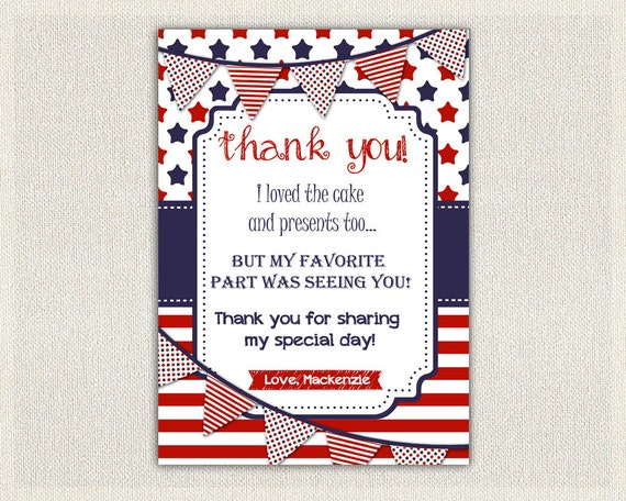 4th july birthday thank you card thank you note personalized thanks
