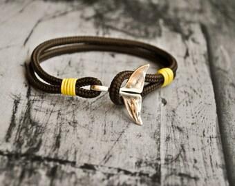 Brown whale tail mens paracord nautical bracelet   nautical wristband   nautische armband   pulsera hombre   dolphin tail bracelet
