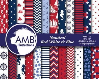 Nautical Digital Papers, Sailing Papers, Seahorse Digital Backgrounds, Sailboats, Nautical scrapbook papers, commercial use, AMB-112