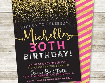 "30th Birthday Invitation - Sparkle Birthday Party DIY Printable Invite in Black, Gold and Pink, Any Age, 5"" x 7"""