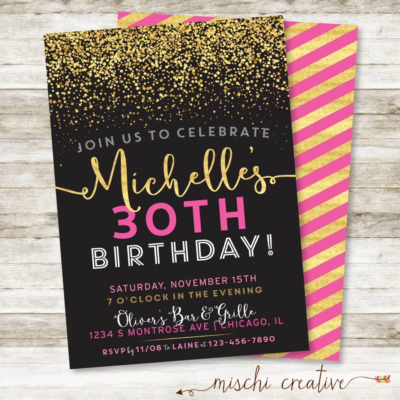 30th Birthday Invitation Sparkle Birthday Party DIY