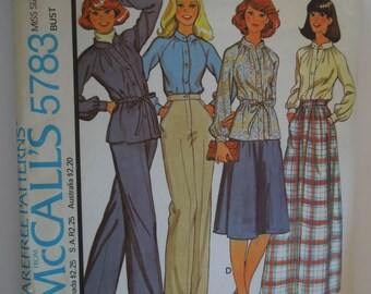 McCalls 5783, size 14, unlined jacket, blouse, skirt and pants, UNCUT sewing pattern, craft supplies