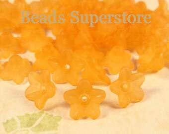 SALE 10 mm x 5 mm Orange Lucite Flower Bead - 60 pcs