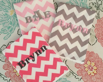 Burp Cloth Set of 3 - Grey Chevron, Baby Pink Chevron & Camel Full Moon Polka Dots or Hot Pink Chevron