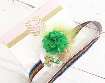 Gold green white rainbow headband-sparkle // st pattys day headband // St. patricks day headband